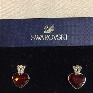 NEW SWAROVSKI RED CRYSTAL EARRINGS